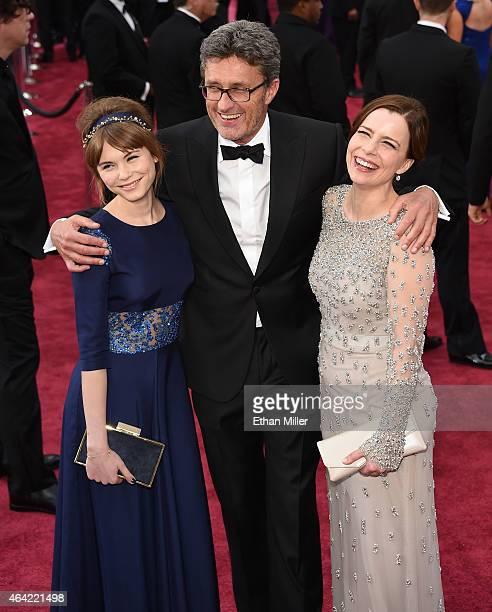 Actress Agata Trzebuchowska, filmmaker Pawel Pawlikowski and actress Agata Kulesza attend the 87th Annual Academy Awards at Hollywood & Highland...
