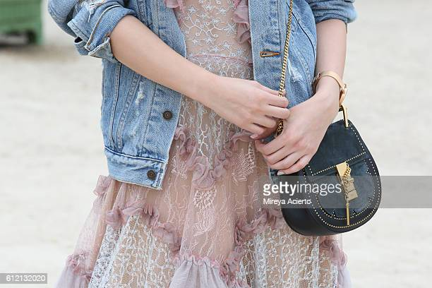 Actress Aggie Hsieh accessory detail attends the Carven show as part of the Paris Fashion Week Womenswear Spring/Summer 2017 on September 29 2016 in...