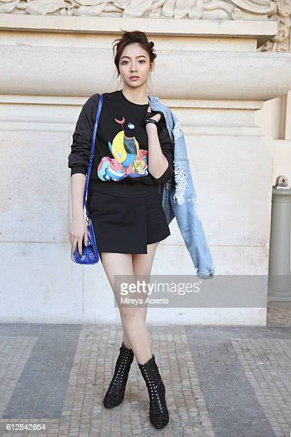 Actress Aggie Hsieh seen wearing Shiatzy Chen during Paris Fashion Week Spring/Summer 2017 on October 4 2016 in Paris France