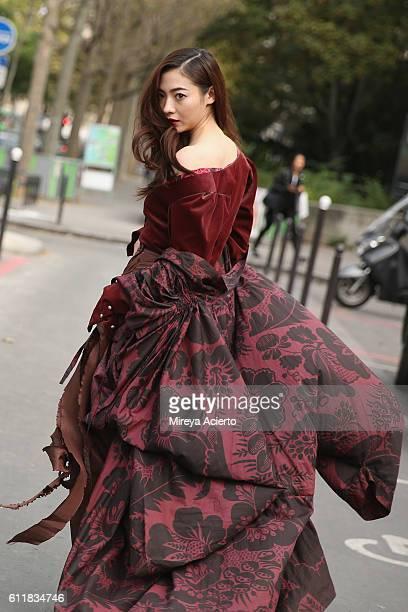 Actress Aggie Hsieh seen wearing Vivienne Westwood during Paris Fashion Week Spring/Summer 2017 on October 1 2016 in Paris France