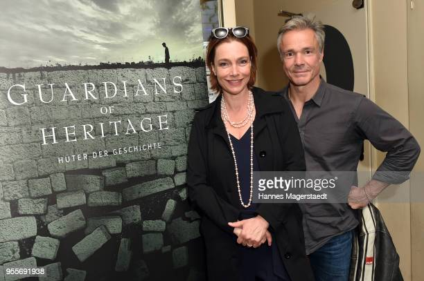 Actress Aglaia Szyszkowitz and actor Hannes Jaenicke attend a photo call for new documentary 'Guardians of Heritage Hueter der Geschichte' by German...