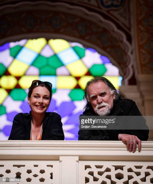 Actress Aglaia Szyszkowitz and actor Josip Pejakovic are seen on set during the shooting of the new documentary series 'Guardians of Heritage Hueter...