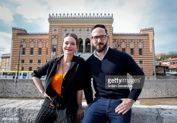 Actress Aglaia Szyszkowitz and Emanuel Rotstein Director Production HISTORY Germany are seen on set during the shooting of the new documentary series...