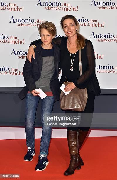 Actress Aglaia Szyszkowitz and her son Samuel attend the premiere of the film 'Antonio ihm schmeckt's nicht' at Mathaeser Filmpalast on August 10...