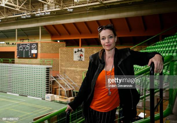 Actress Aglaia Szyszkowitz is seen on set during the shooting of the new documentary series 'Guardians of Heritage Hueter der Geschichte' by German...