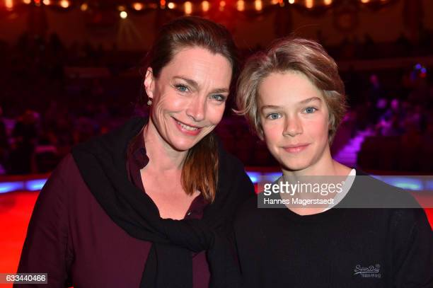 Actress Aglaia Szyszkowitz with son Samuel during the 'AllezHopp' premiere at Circus Krone on February 1 2017 in Munich Germany
