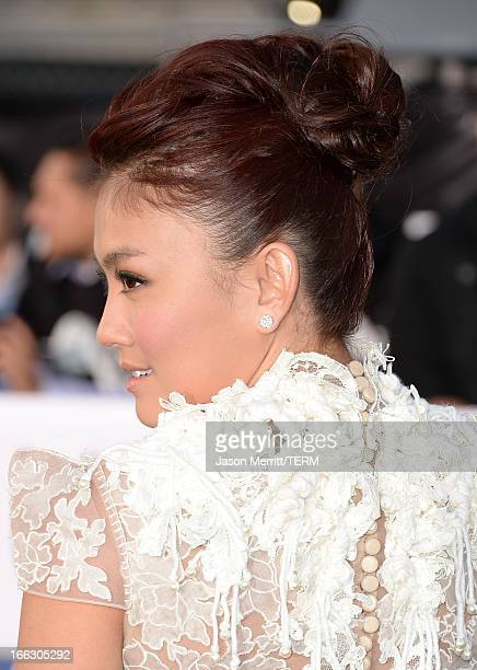 Actress Agnes Monica arrives at the premiere of Universal Pictures' 'Oblivion' at Dolby Theatre on April 10 2013 in Hollywood California