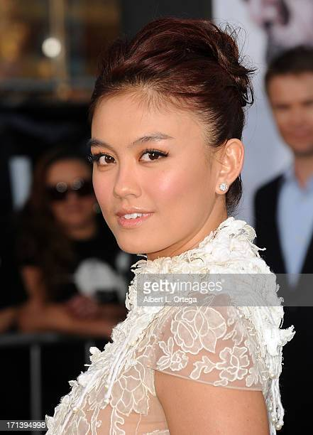 Actress Agnes Monica arrives for the premiere of Universal Pictures' 'Oblivion' held at the Dolby Theater on April 10 2013 in Hollywood California