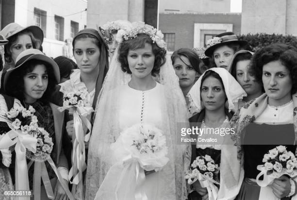 Actress Agostina Belli as the character Marcella Valmarin appears in a wedding scene from the 1976 Italian film Telefoni Bianchi The movie written...
