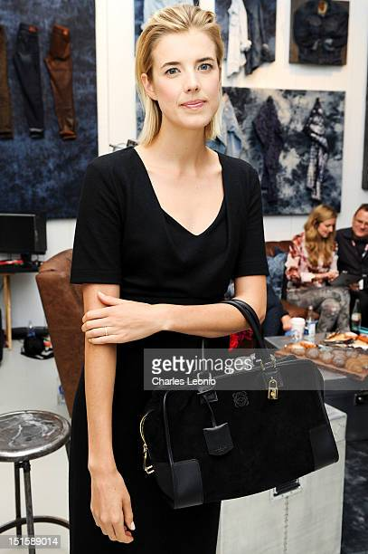 Actress Agyness Deyn poses at the Guess Portrait Studio on Day 3 during the 2012 Toronto International Film Festival at Bell Lightbox on September 8...