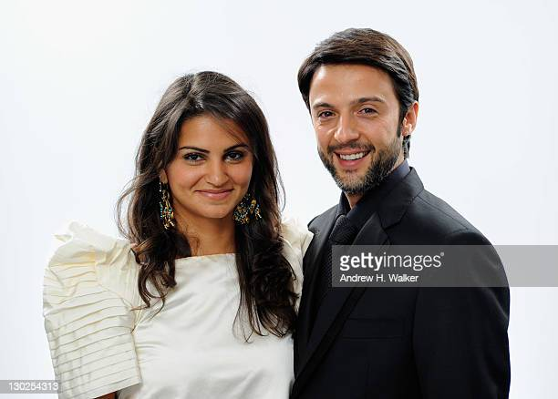 Actress Ahd Kamel and Abdullah Al Kaabi pose for a portrait in the portrait studio at Katara Cultural Village during the 2011 Doha Tribeca Film...