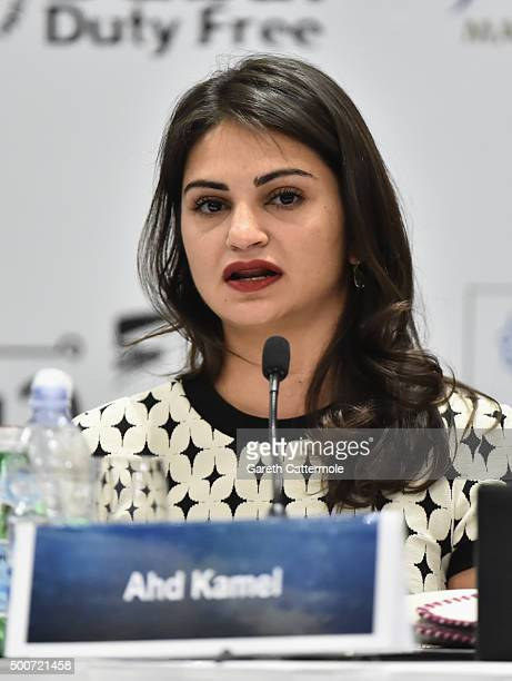 Actress Ahd Kamel attends the 'Zinzana ' press conference during day two of the 12th annual Dubai International Film Festival held at the Madinat...