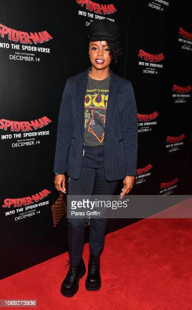 Actress Ahmarie Holmes attends 'Spiderman Into The SpiderVerse' Atlanta screening at Regal Atlantic Station on December 6 2018 in Atlanta Georgia