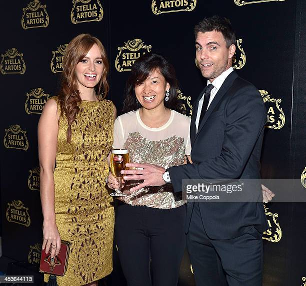 Actress Ahna O'Reilly Global Vice President of Stella Artois Debora Koyama and Actor Colin Egglesfield at launch event for Stella Artois Crystal...