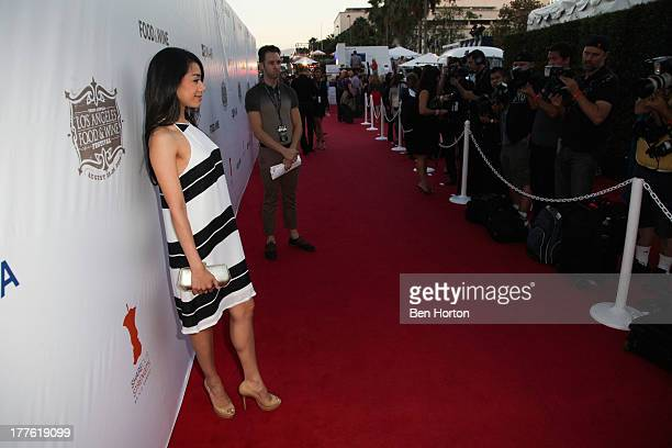 Actress Aimee Garcia attends LEXUS Live on Grand hosted by Curtis Stone at the third annual Los Angeles Food Wine Festival on August 24 2013 in Los...