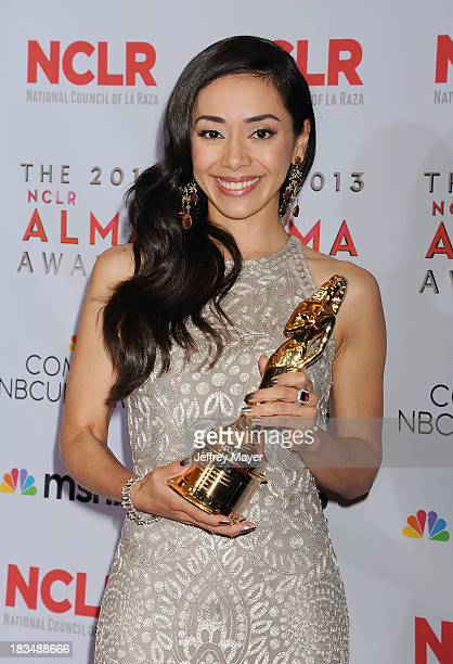 Actress Aimee Garcia poses in the press room at the 2013 NCLA ALMA Awards at Pasadena Civic Auditorium on September 27 2013 in Pasadena California