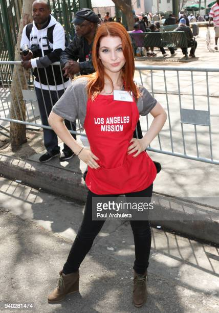 Actress Ainsley Ross attends the Los Angeles Mission Easter Charity event at Los Angeles Mission on March 30 2018 in Los Angeles California