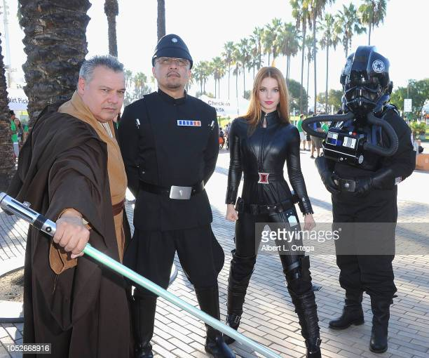 Actress Ainsley Ross dressed as Black Widow pose with member of 501st at Easter Seals Southern California's 'Strides For Disability 5K Run/Walk and...