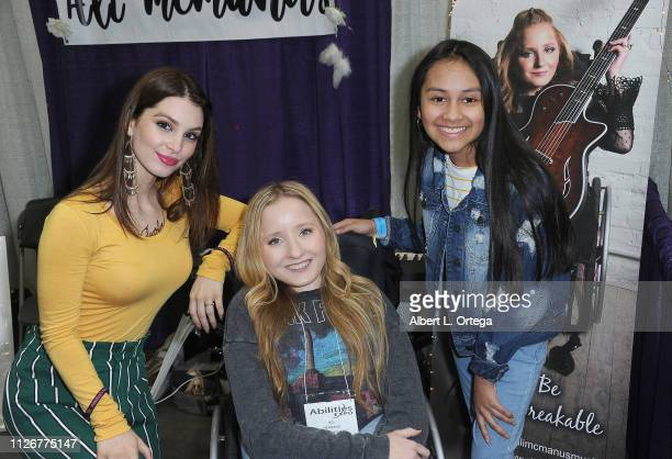 Actress Ainsley Ross Musician Ali McManus and Actress Isabella Leon attend The 2019 Abilities Expo held at Los Angeles Convention Center on February...