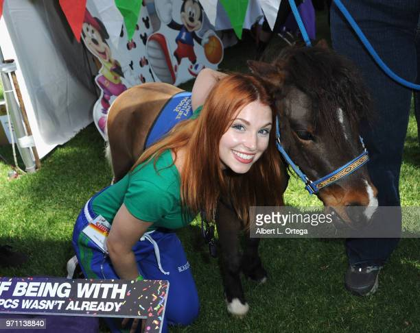 Actress Ainsley Ross participates in the 49th Annual Special Olympics Southern California Summer Games Media Day held at Cal State Long Beach on June...