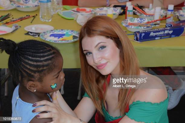Actress Ainsley Ross participates in the Los Angeles Mission's End of Summer Art and Education Fair held at Los Angeles Mission on August 11 2018 in...
