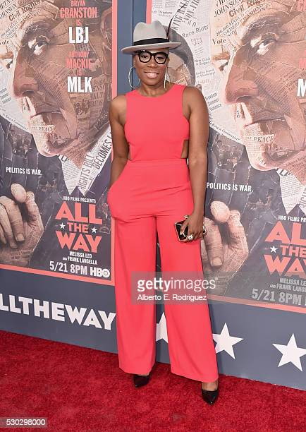 """Actress Aisha Hinds attends the """"All The Way"""" Los Angeles Premiere at Paramount Studios on May 10, 2016 in Hollywood City."""
