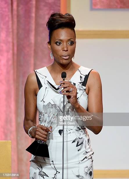 Actress Aisha Tyler accepts the Best Animated Series award for 'Archer' onstage during the Broadcast Television Journalists Association's third...