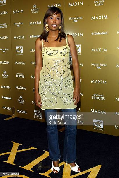 Actress Aisha Tyler arrives at the 2004 Maxim Magazine Hot 100 Party at the Hard Rock Hotel Casino