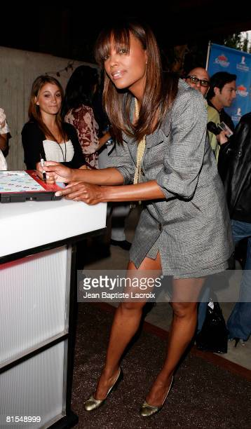 Actress Aisha Tyler Scrabble Under The Stars to Benefit St Jude Children Hospital on June 12 2008 at The Goldstein Estate in Beverly Hills California