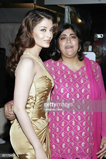 Actress Aishwarya Rai and director Gurinder Chadha attend premiere of Miramax's 'Bride And Prejudice' February 9 2005 in New York City