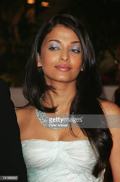 Actress Aishwarya Rai arrives at 'My Blueberry Nights' party during the 60th International Cannes Film Festival at the Palais du Festival on May 16...