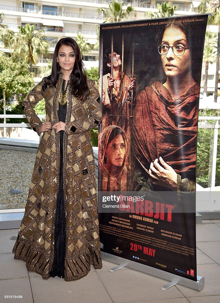 Actress Aishwarya Rai attends `Sarbjit` Photocall during The 69th Annual Cannes Film Festival at the Palais des Festivals on May 15 2016 in Cannes...