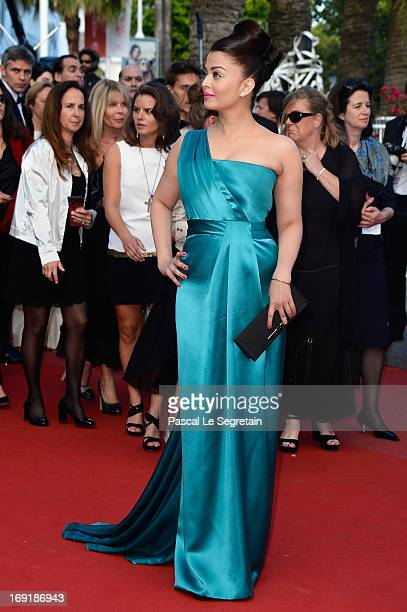 Actress Aishwarya Rai attends the 'Cleopatra' premiere during The 66th Annual Cannes Film Festival at The 60th Anniversary Theatre on May 21, 2013 in...