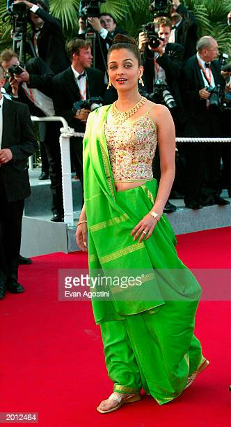 Actress Aishwarya Rai attends the 'Dogville' premiere at the Palais Des Festival during 56th International Cannes Film Festival 2003 on May 19 2003...