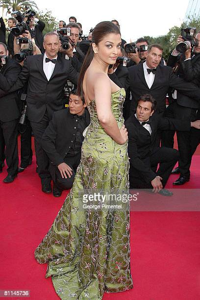 Actress Aishwarya Rai attends the 'Indiana Jones and the Kingdom of the Crystal Skull' premiere at the Palais des Festivals during the 61st Cannes...