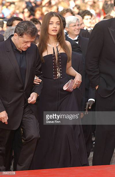 Actress Aishwarya Rai attends the premiere for the film 'The Matrix Reloaded' at the Palais des Festivals during the 56th International Cannes Film...