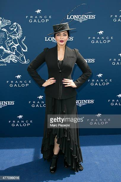 Actress Aishwarya Rai attends the 'Prix de Diane Longines 2015' at Hippodrome de Chantilly on June 14 2015 in Chantilly France
