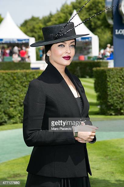 Actress Aishwarya Rai attends the 'Prix de Diane Longines 2015' at Hippodrome de Chantilly on June 14, 2015 in Chantilly, France.