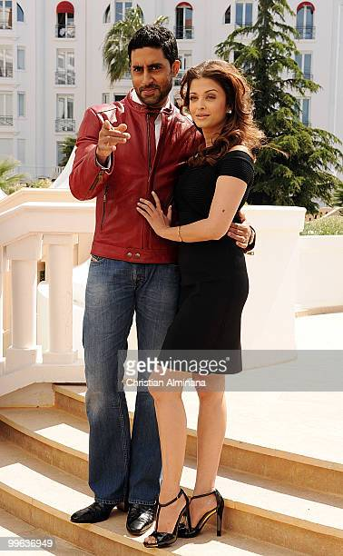 Actress Aishwarya Rai Bachchan and Abhishek Bachchan attend the 'Raavan' Photocall at the Salon Diane at The Majestic during the 63rd Annual Cannes...