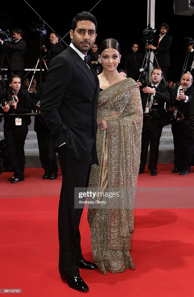Actress Aishwarya Rai Bachchan and Abhishek Bachchan attends 'Outrage' Premiere at the Palais des Festivals during the 63rd Annual Cannes Film Festival on May 17, 2010 in Cannes, France.