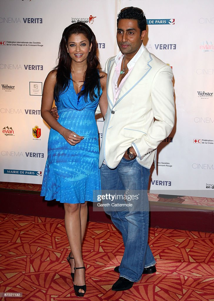 Actress Aishwarya Rai Bachchan and actor Abhishek Bachchan attend the Cinema Verite 2009 Press Conference held at the Hotel Martinez during the 62nd International Cannes Film Festival on May 14, 2009 in Cannes, France.