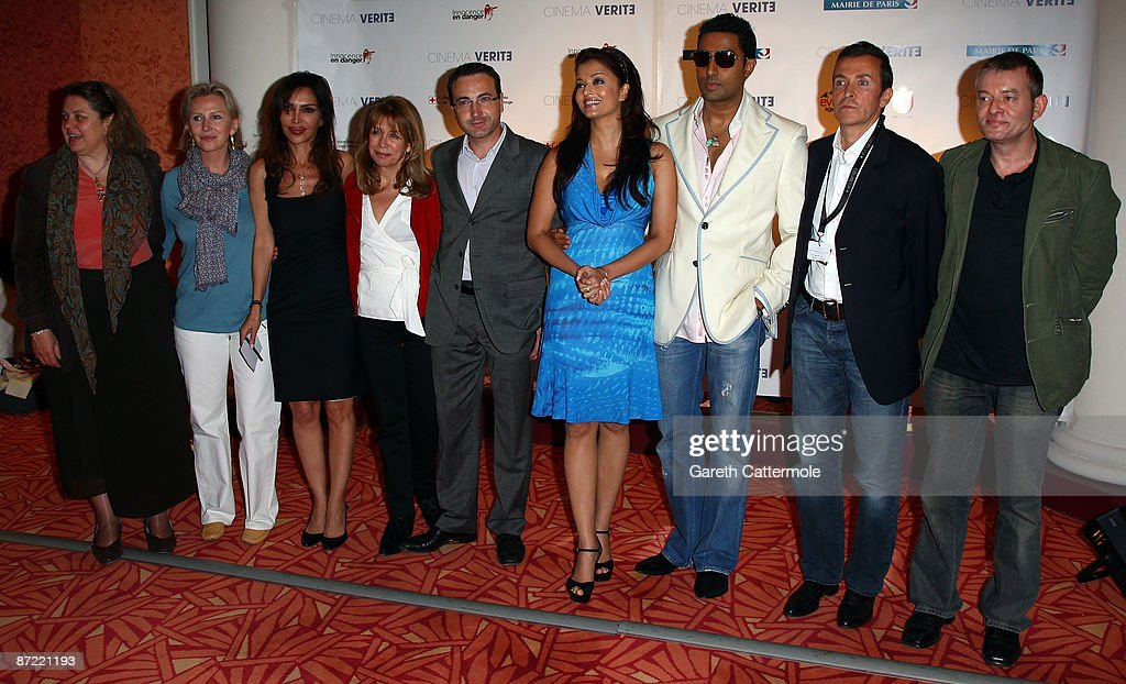 Actress Aishwarya Rai Bachchan and actor Abhishek Bachchan pose with guests at the Cinema Verite 2009 Press Conference held at the Hotel Martinez during the 62nd International Cannes Film Festival on May 14, 2009 in Cannes, France.