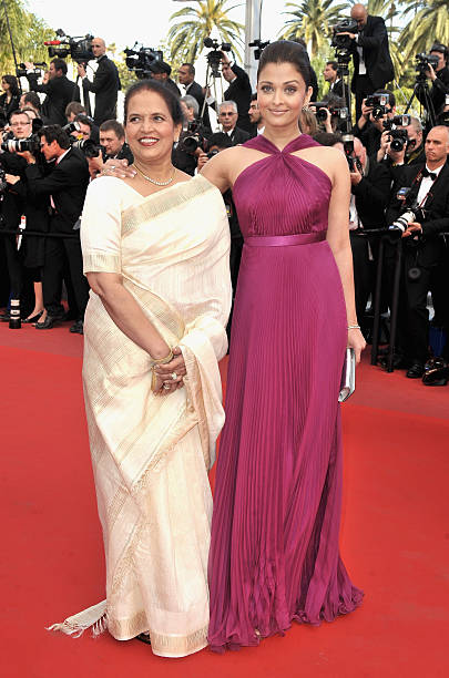 Actress Aishwarya Rai Bachchan and her mother Vrinda Rai attend the Premiere of `Wall Street Money Never Sleeps` held at the Palais des Festivals...