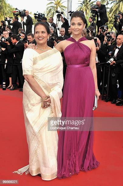 Actress Aishwarya Rai Bachchan and her mother Vrinda Rai attend the Premiere of 'Wall Street Money Never Sleeps' held at the Palais des Festivals...