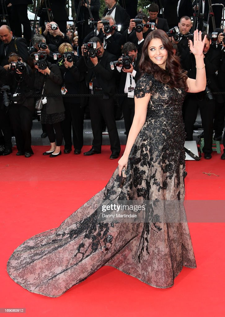 Actress Aishwarya Rai Bachchan attends the Premiere of `Inside Llewyn Davis` at The 66th Annual Cannes Film Festival on May 19 2013 in Cannes France