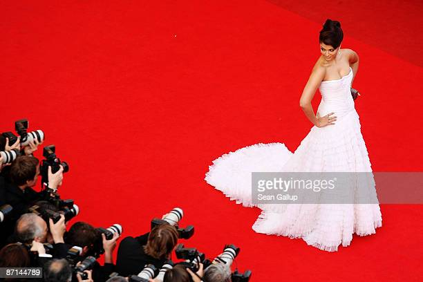 Actress Aishwarya Rai Bachchan attends the 'Up' Premiere at the Palais De Festival during the 62nd International Cannes Film Festival on May 13 2009...