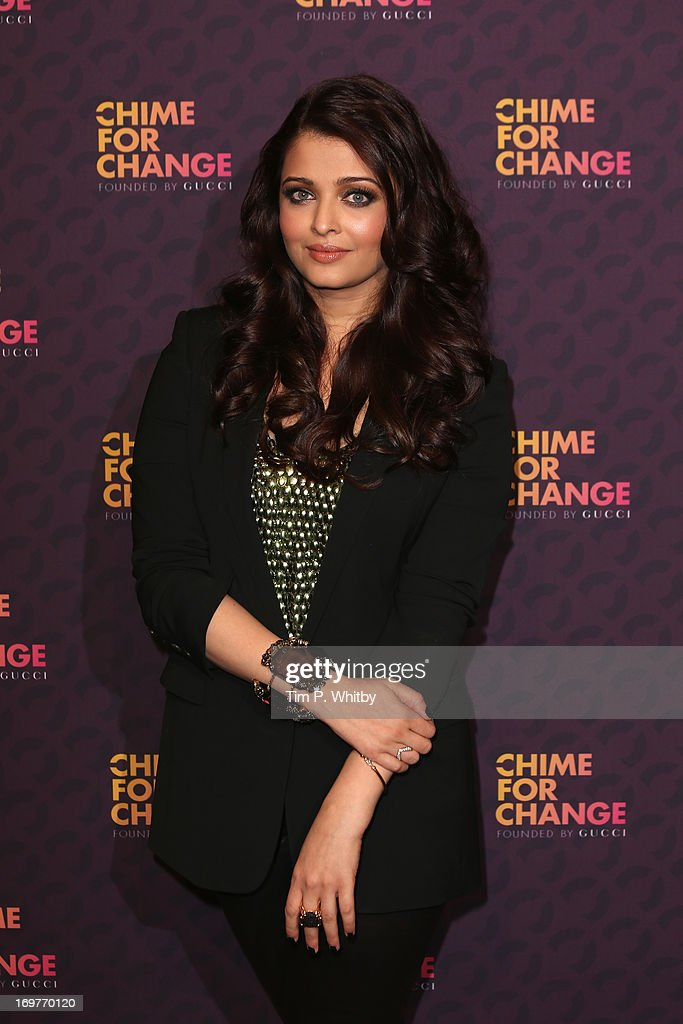Actress Aishwarya Rai Bachchan poses backstage in the media room at the 'Chime For Change The Sound Of Change Live' Concert at Twickenham Stad