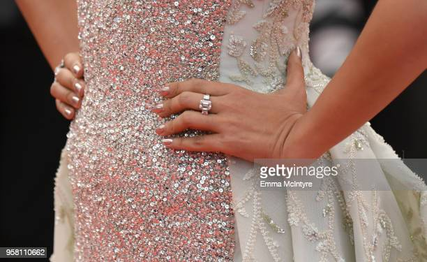 Actress Aishwarya Rai jewelry detail attends the screening of 'Sink Or Swim ' during the 71st annual Cannes Film Festival at Palais des Festivals on...