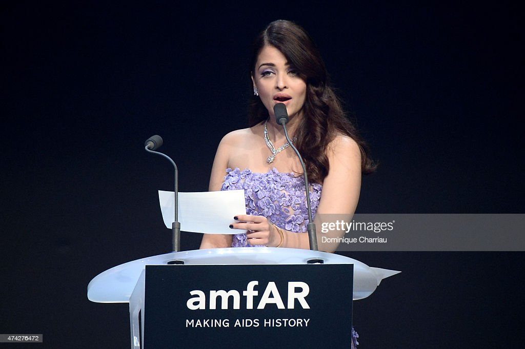 Actress Aishwarya Rai onstage during amfAR's 22nd Cinema Against AIDS Gala Presented By Bold Films And Harry Winston at Hotel du CapEdenRoc on May