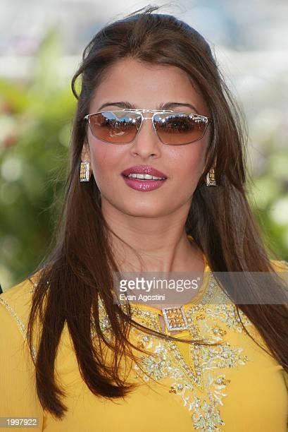 Actress Aishwarya Rai poses during a photocall for the members of the 2003 Cannes Film Festival jury at the Palais des Festivals during the 56th...
